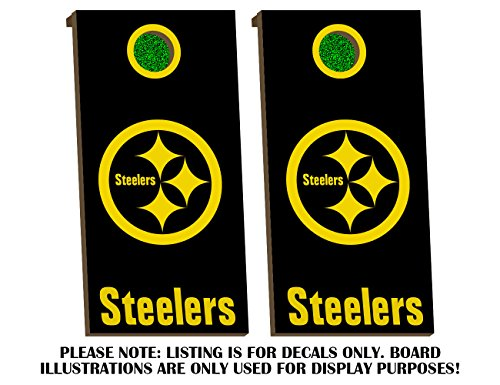 Pittsburgh Steelers Cornhole Board Decals - GOLDEN YELLOW - Fit for Bean Bag Toss Outdoor Game Sticker Set - Die Cut - Novelty Decals