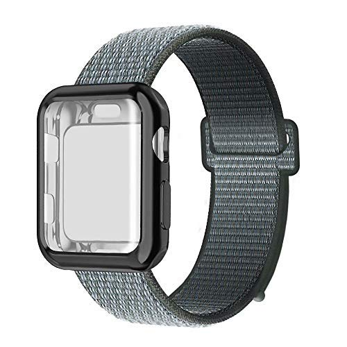 QIENGO Compatible with Apple Watch Band with Case 44MM, Soft Nylon Strap with Silicone Screen Protector, Replacement for iWatch Sport Series 4 (Storm Gray, 44mm)