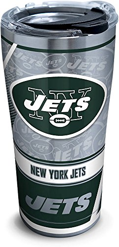 Tervis 1266668 NFL New York Jets Edge Stainless Steel Tumbler with Clear and Black Hammer Lid 20oz, Silver