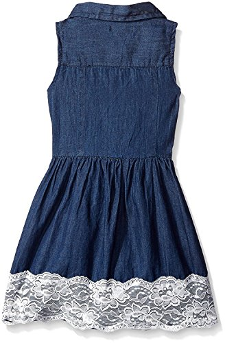 50s Mom Costume (True Meaning Nice Girls' Denim and Lace Sundress Dark Wash4T)