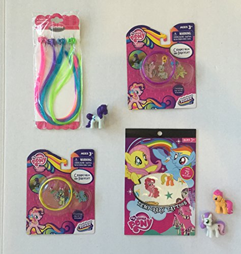 My Little Pony Charmlings & Bracelet Pink & Yellow w/total of 6 Charms, Fun Punk Neon Hair Extensions, 75 Temporary Tatoos, and 3 Mini Pony Figures.Great for MLP Collectors or Child Play Gift(7 Items) -  Hasbro and mixed