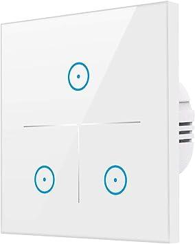 /Überlastungsschutz Timing-Funktion WLAN Alexa Lichtschalter kein Hub erforderlich Wei/ß 3Weg Smart Lichtschalter f/ür Alexa und Smartphone,geh/ärtetes Glas Touchscreen-schalter 1//2//3 Weg