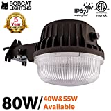 Bobcat 80W LED Area Light Dusk to Dawn Photocell Included, 5000K Daylight, 8500 Lumens, Perfect Yard Light or Barn Light, ETL Listed, 700W Incandescent or 200W HID light Equivalent, 5-Year Warranty