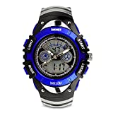 Kids Analog-Digital Watch, Boys Girls Child Sport Watch 50M Water-resistant Date Display Alarm Stop Watch Outdoor Wristwatch Dual Time Blue