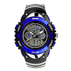 Kids Analog-Digital Watch, Boys Girls Child Sport Watch 50M Water-resistant Date Display Alarm Stop Watch Outdoor Wristwatch Dual Time Blue