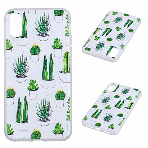 Funda iPhone X,XiaoXiMi Carcasa de Silicona TPU Suave y Esmerilada Funda Ligero Delgado Carcasa Anti Choque Durable Caja de Diseño Creativo - Lobo Cactus