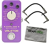 Valeton CME-1 Coral Mod (w/16 Digital Modulations) Pedal Bundle w/ 2 Cables and Cloth