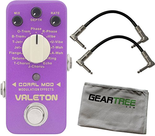 Valeton CME-1 Coral Mod (w/16 Digital Modulations) Pedal Bundle w/ 2 Cables and Cloth by Valeton