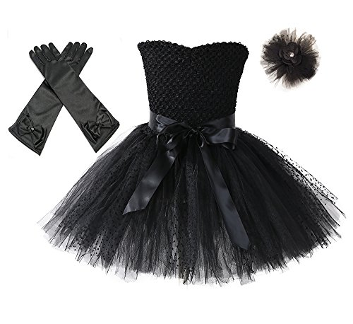 Tutu Dreams Vintage Rockstar Party Dress Outfits for Girls with Gloves and Headband (Black, XXL)