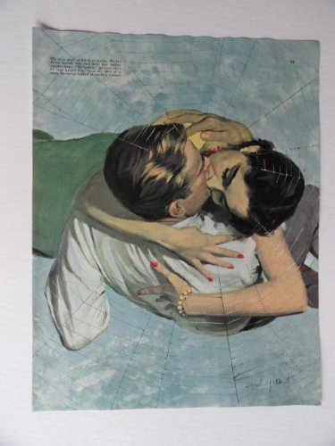 Lionel Gilbert,50's full page Color Illustration, painting,print art (man and woman kissing/spider web) 1952 Collier's Magazine Art ***store link [www.amazon.com/shops/ads-thru-time]