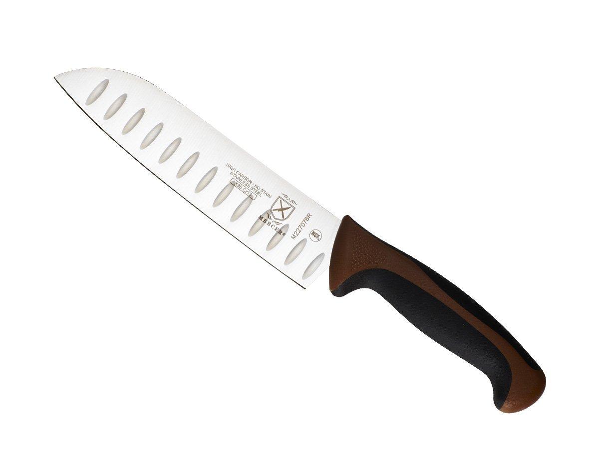 Mercer Culinary Millennia Granton Edge Santoku Knife, 7 Inch, Brown