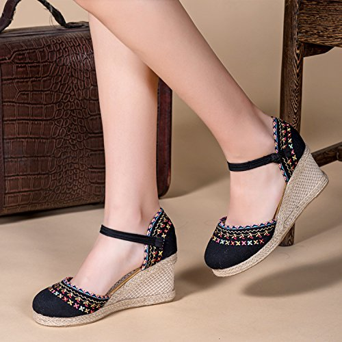 Slope Shoes High Heels GTVERNH Women'S Single Heels Wind Cloth National Sandals Gang Beige Women'S Spring High Shoes Shoes Beijing Old Embroidery ZZPg7qUw