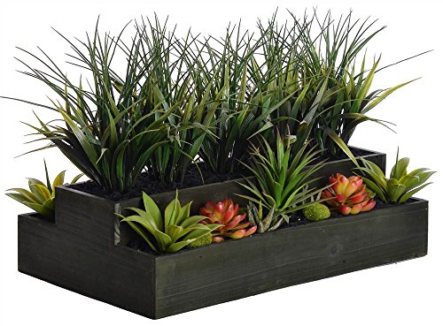 Laura Ashley VHA102440 Plastic Grass Wooden Pot, 26 by 13 by 14