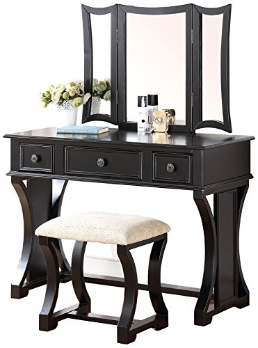 Poundex Bobkona Edna Vanity Set with Stool, Black