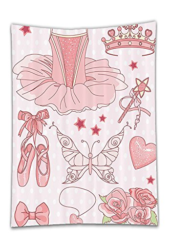 [Chaoran Tablecloth Teen Girls Decor Collection Set of Princess Ballerina Accessories Classic Costume Shoes Tiara Roses Image Pattern Pink Holiday Home Decorative] (Polka Dot Monster Teen Costumes)