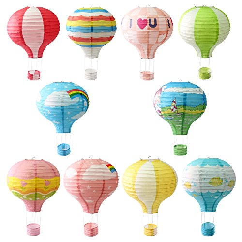 Signstek 10PCS 12'' Hot Air Chinese Papper Lantern for Christmas Wedding Party Decoration]()