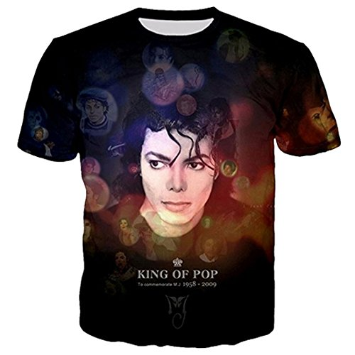 GIGA COOL Womens Mens King of Pop Michael Jackson 3D T Shirts MJ Dancing Top Tee Costume Plus Size Clothing T-Shirt -