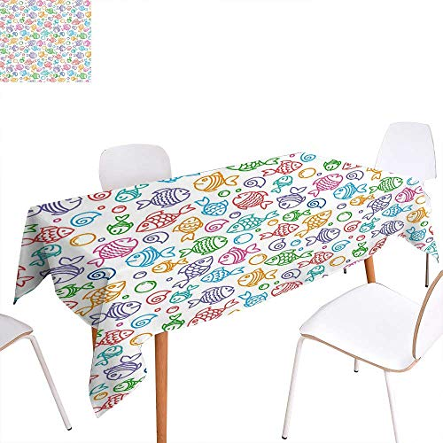 (familytaste Kids Rectangular Tablecloth Colorful Doodle Style Fish Figures with Happy Faces and Bubbles Under The Sea Aquarium Oblong Wrinkle Resistant Tablecloth 50