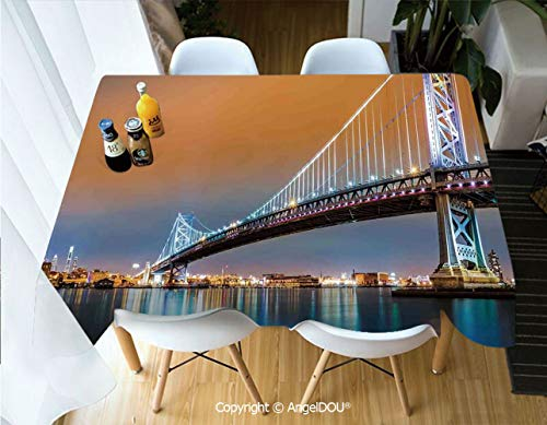 AngelDOU Fashion Durable Polyester Printed Tablecloth Ben Franklin Bridge and Philadelphia Skyline Viewed from Camden Across The Delaware River Decorative for Kitchen Dining Room,W55xL55(inch)]()