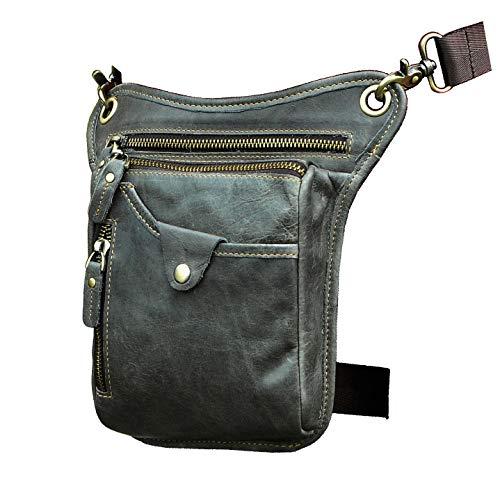 Le'aokuu Mens Genuine Leather Motorcycle Waist Pack Drop Leg Cross Over Bag 211-5 (Grey 2)