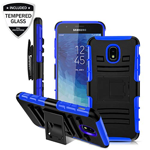 Case 3rd Gen - Samsung Galaxy J3 2018/J3V J3 V 3rd Gen/J3 Star/J3 Express Prime 3/J3 Achieve/Amp Prime 3 Case w/Tempered Glass Screen Protector,Shockproof Protective Cover w/Belt Clip Kickstand for Men/Boys, Blue