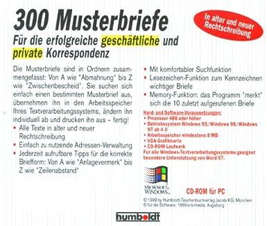 Dreihundert 300 Musterbriefe Cd Rom Für Windows 9598 Nt 40
