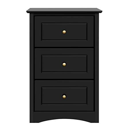 Topeakmart Tall End Side Table Night Stand with 3 Drawers Bronze Handle – Bedside Chair Side Storage Cabinet Black