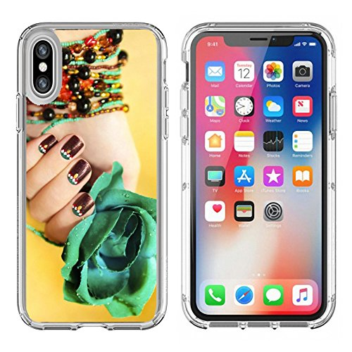 Luxlady Apple iPhone X Clear case Soft TPU Rubber Silicone Bumper Snap Cases iPhoneX IMAGE ID: 23157915 Ethnic motifs on the nails female young hands with beaded bracelet with turquoise rose on - Crystal Motif Bracelet