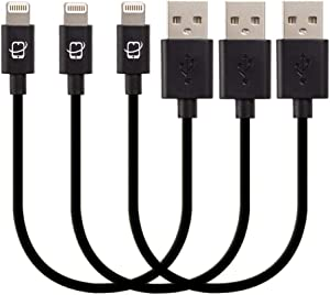 CreatePros MFi Certified Short Lightning to USB Cable Compatible with iPhone, iPad and iPod - 7.5 Inches (19 Centimeters) - Black, 3-Pack