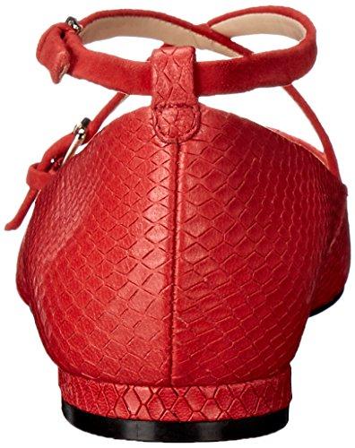 Plana Rojo Piel Mujer Nine Anastagia Toe West Pointed wz1YTxFY