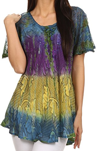 Sakkas 14783 - Dina Relaxed Fit Sequin Tie Dye Embroidery Cap Sleeves Blouse / Top - Navy - OSP
