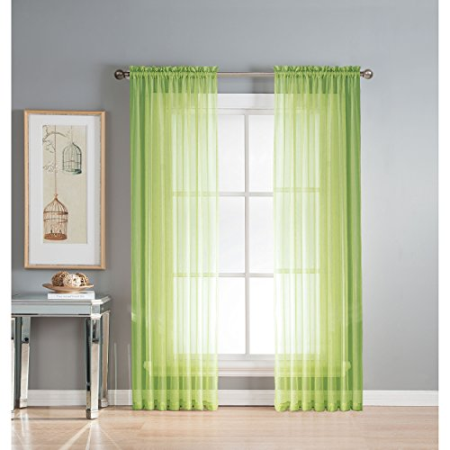 Window Elements Diamond Sheer Voile Extra Wide 56 x 63 in. Rod Pocket Curtain Panel, Lime (Green Panels Lime Drapery)