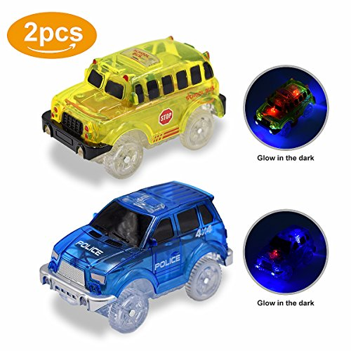 Magic Dinosaur (Lydaz Pack of 2 Replacement Race Car Track Play & Independent 5 LED Light up School Police Vehicles Glow in the Dark Compatible with Dinosaur Tracks and Magic Tracks)