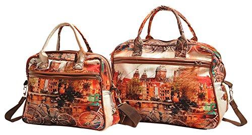 brun à Sacs Femmes orange de avec zippées 1 épaule main créateurs Sacs poches Imprimé Mode et Yuga qxfRpw