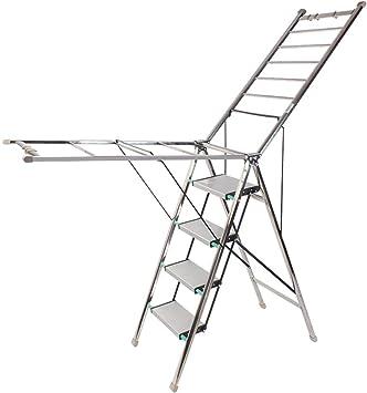 Escaleras de tijera Escalera Plegable de Acero Inoxidable, Escalera Multifunción, Escalera Portátil Ligera Blanca Escalera plegable: Amazon.es: Bricolaje y herramientas