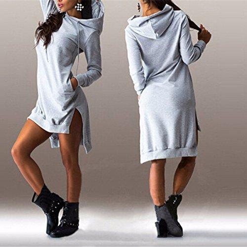 Miscele Felpe Lunghe Casual Del Del Vestito Cotone Donne Grigio Irregolare Maniche Abbigliamento Bordo Furcal dRxqwdBF