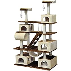 "Go Pet Club Huge 87"" Tall Cat Tree House Climber Furniture with Swing"