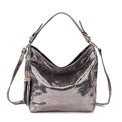 Snake Tassel Flow Pattern Bag Silver Lady Shoulder Handbag Snakeskin BxUT7T