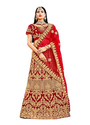 - CRAZYBACHAT Indian Bridal Wear Velvet Lehenga Choli in Multi Color