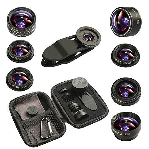Insstro 9 in 1 Phone Camera Lens Kit Universal Telephoto Lens+198°Fisheye lens + 0.36 Super Wide Angle Lens + 0.63X Wide Lens +20X Macro Lens + 15X Macro Lens + CPL + Kaleidoscope Lens + Starburst Len