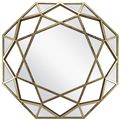 "MCS Dimensional, 28"", Octagonal Metal Mirror, 28 Inches, Gold Finish - Mirror is three dimensional Metal has a gold Leaf finish Contains geometric mirror panels. Center mirror panel is 20in diameter. Sixteen triangular mirror panels encircle the outside edge - bathroom-mirrors, bathroom-accessories, bathroom - 51GKFtFQXhL. SS400  -"