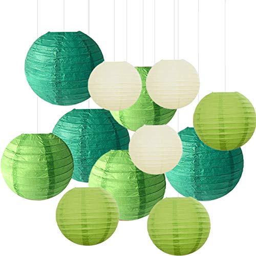 12PCS Paper Lanterns with Assorted Colors and Sizes Paper Lanterns Decorative,Chinese/Japanese Paper Hanging Decorations Ball Lanterns Lamps for Home Decor, Parties, and Weddings (Green)