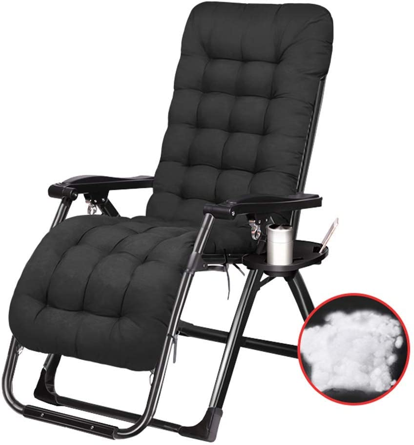 Sunloungers Garden Recliner Folding Reclining Lounge Chair with Cushions and Cup Holder Patio Outdoor Adjustable Dining Zero Gravity Chairs,336lbs Capacity- Black