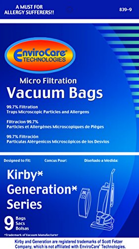 Kirby Inception 1,2,3,4,5,6 and Ultimate G Allergen Filtration 9 Bags