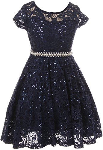BNY Corner Big Girl Cap Sleeve Floral Lace Glitter Pearl Holiday Party Flower Girl Dress Navy 10 JKS 2102]()