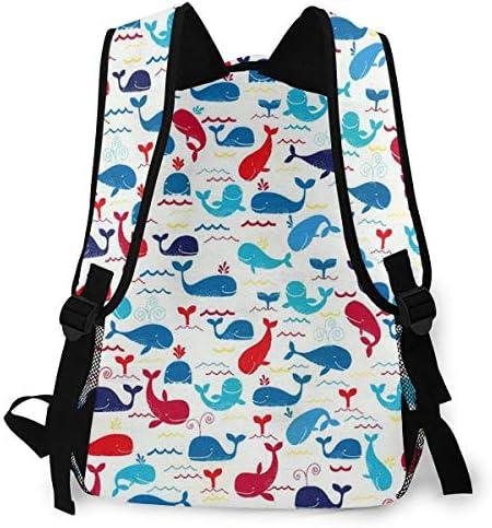 カラフルなクジラ バックパック リュック メンズ レディース 学生 男女兼用 防水 アウトドア カジュアル デイパック 多機能 収納 通勤 通学