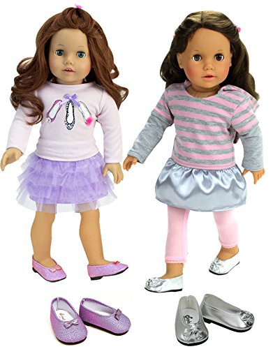 Sophia's 6 Pc Soft Pink and Lavender Doll Outfits Include 2 Outfits and 2 Dress Shoes
