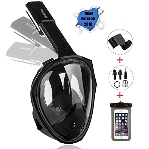 YOOCOOL Full Face Snorkel Mask Foldable 180° Panoramic View Diving Scuba Mask Free Breathing Full Face Snorkeling Mask with Waterproof Phone Bag