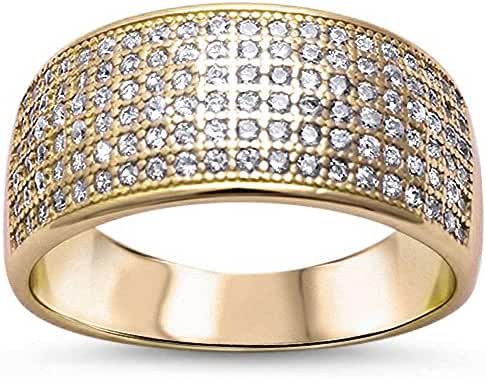 CHOOSE YOUR COLOR Sterling Silver Cubic Zirconia Micro Pave Ring (Size 5 - 11)