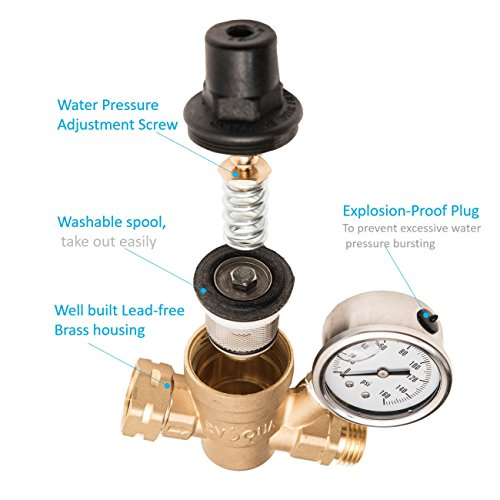 RVAQUA M11-45PSI Water Pressure Regulator for RV Camper - Brass Lead-Free Adjustable RV Water Pressure Reducer with 160 PSI Gauge and Inlet Stainless Screened Filter by Kozyvacu (Image #1)